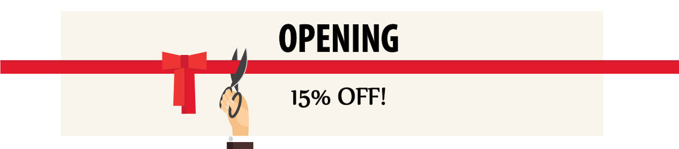 Opening Promo 15% OFF!